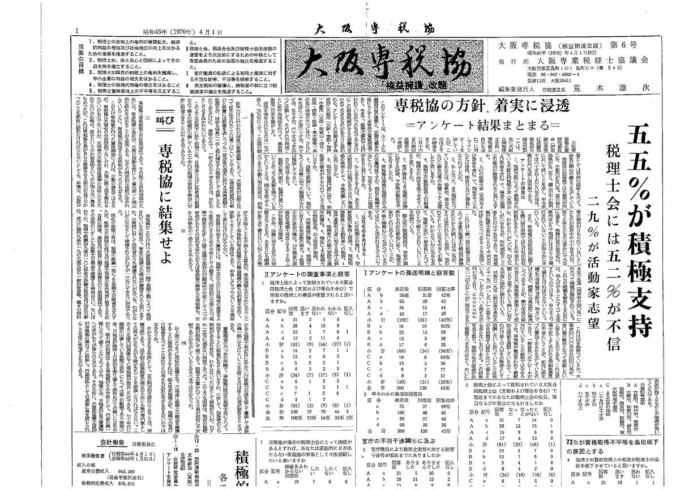 大阪専税協6号(1970年4月)―記事写真